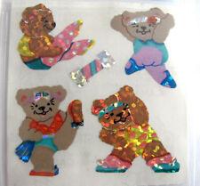 Vtg Sandylion Glitter Exercise Teddy Bears Teddies Workout Dance Sticker Mod