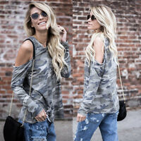 HOT Women's Off Shoulder Camouflage Long Sleeve Blouse Tops T-Shirt Casual Shirt