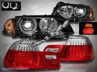 00-2003 BMW E46 2DR HALO PROJECTOR HEADLIGHTS+CORNER LIGHTS BLK + LED TAIL LIGHT