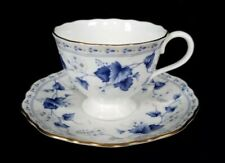 Narumi Bone China Tea Cup and Saucer with Blue Grape Leaves - make in Japan