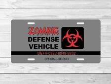 Zombie defense vehicle front License Plate Tag car truck frame