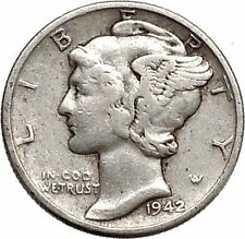 Mercury Winged Liberty Head 1942 Dime United States Silver Coin Fasces i43091