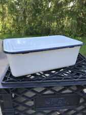 "Large 14"" x 9"" Vintage Enamel White & Blue Trim Refrigerator Box With Lid"
