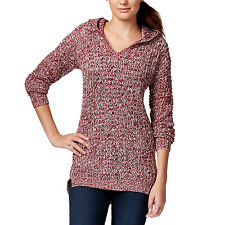 New XS Hooded Tunic Sweater ULTRA FLIRT Stylish Marled Knit Pullover Red Womens