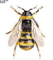 Gold Zirconia Bienen Brosche Pin Luxus Biene Anstecknadel Gelb