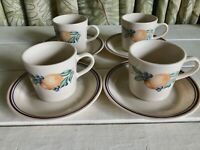 4 Corelle Corning Abundance Fruit Decorated Cups Saucers Sets 8 pieces total