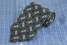 Tino Cosma Men's Tie Gray White & Red Geometric Woven Silk Necktie 58 x 3.75 in.