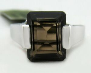 GENUINE 3.83 Cts SMOKY TOPAZ  RING 10k WHITE GOLD*  New with Tag