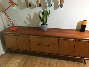 Mid Century Teak Sideboard By Meredew Danish Retro Gplan design - hairpin legs