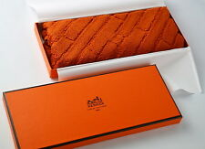 "BRAND NEW AUTHENTIC HERMES CARRE DADA ""H"" PATTERN ORANGE COTTON 100% FACE TOWEL"