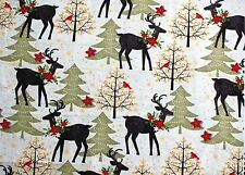 """BTY*CHRISTMAS STAG, DEER,TREES & POINSETTA ON CREAM FLANNEL FABRIC 1 YD 42X36"""""""