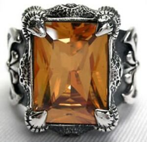 IMPERIAL TOPAZ CLAW & AXE 925 STERLING SILVER MEN'S RING SAPPHIRE GOTHIC BIKER