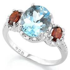 NEW 3.91CT OVAL CUT BABY BLUE TOPAZ, GARNET & DIAMOND  925 SILVER RING