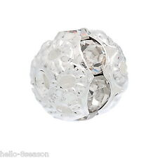 100PCs Hello Silver New Plated Rondelle Ball Beads With White Rhinestone