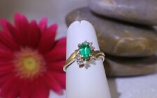 Solid 14K Yellow Gold Diamond and Emerald Ring Emerald Cut, Pretty sz 5.5