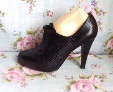 Black Leather Shoes Zip Front Mock Croc Platform Nine West Stiletto Size 6