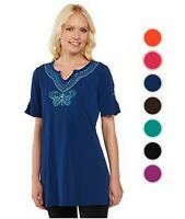 QUACKER FACTORY Split Neck Knit Tunic with Sequin Butterfly 240591RM