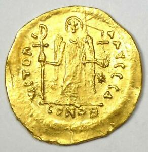 Byzantine Justinian I AV Solidus Angel Gold Coin 527-565 AD - XF Detail (EF)