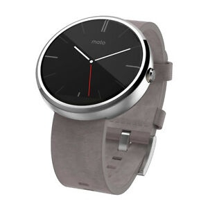 Motorola Moto 360- Stone Grey Leather Smart Watch Wireless,Touchscreen, Microphe