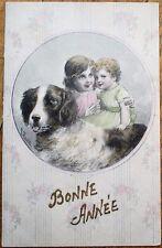 St./Saint Bernard Dog & Children 1907 Artist-Signed French New Year Postcard