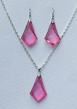ART DECO STYLE DEEP PINK SPEAR EARRINGS PENDANT SET ACRYLIC CRYSTAL SILVER PLATE