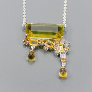 "36ct+ Vintage Lemon Quartz Necklace 925 Sterling Silver  Length 19""/N06242"