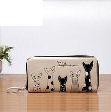 Lovely Cat Print Long Leather Purse Women's Card Holder Wallet Clutch Handbag