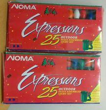 2 Lot New 25 Bulb Multicolor Ceramic Outdoor Christmas Light Sets Noma 25911 50