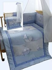 3 pcs Baby Boys Bedding Set Blue - Boat - for Cot and Cot bed