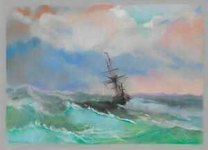 original drawing 25 x 35 cm 177GZ art Pastel modern seascape ship at sea storm