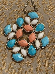 Kendra Scott Turquoise Coral White Pearl Vintage Rare Necklace