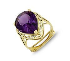 Women's Sizable 6.62 ct Natural Amethyst Solitaire 14k Gold Ring