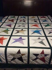 Handmade Wonky Star king size quilt custom order