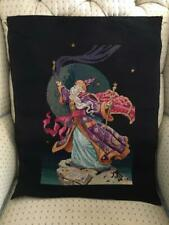 Vtg Completed Cross Stitch Fantasy Magic Mystical Wizard Finished Tapestry