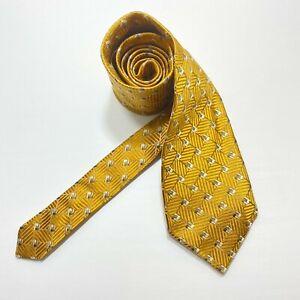 ERMENEGILDO ZEGNA Men's 100% Silk Necktie ITALY Luxury Geometric Golden Yellow