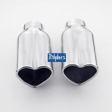 """Pair heart shaped exhaust tips rolled edage 1.9"""" inlet 6"""" long stainless steel"""