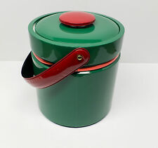 Mid-Century Georges Briard Holiday Christmas Green Red Ice Bucket XMAS