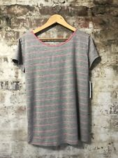 Stitch Fix Loveappella Gray & Pink Striped Shirt Sleeve Knit Shirt Top NWT LARGE