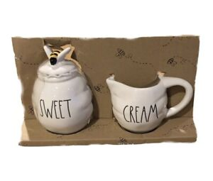 Rae Dunn Beehive SWEET and CREAM Set Sugar and Creamer with BEE Topper ~ New