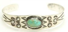 Vintage Navajo Sterling Silver Old Pawn Harvey Stamped Turquoise Cuff Bracelet