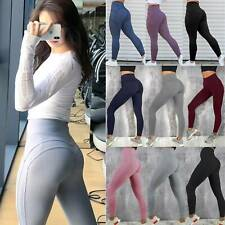Women High Waist Sports Pants With Pockets Stretch Gym Yoga Legging Fit Trousers
