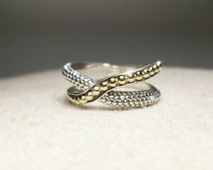 Lagos Caviar Sterling Silver Crossover 18K Yellow Gold Ring Sz 9.5 (Retired)