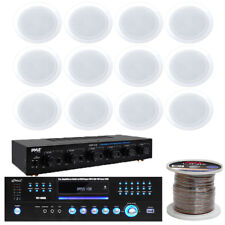 "Pyle PD1000A USB DVD Receiver, 5.25"" InCeiling Speakers, Speaker Selector & Wire"
