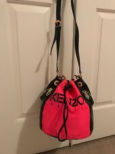a1cdf17f3b KENZO Canvas And Leather Color-Blocked Bucket Bag in Pink/Orange