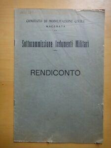 1918-SOTTOCOMMISSIONE INDUMENTI MILITARI-Rendiconto-GUERRA-MACERATA