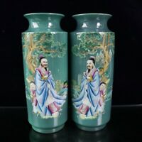 """9.8"""" Collect Chinese Porcelain Green Background Famille Rose Personage Vase Pair"""