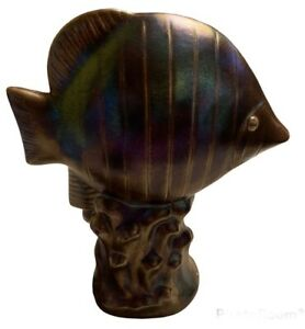Large Salt Water fish statue Sculpture Iridescent Rainbow Brown Terra-cotta