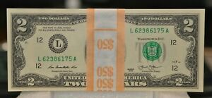 $50 $2 DOLLAR BILLS UNCIRCULATED  SEQUENCIAL  FEDERAL RESERVES NOTES LOOK