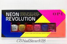 OPI NEON REVOLUTION 6 Mini Polish set: White Base/4 colors/Top Coat x 1/8oz NIB
