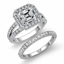 Asscher Diamond Halo Engagement Bridal Set Ring GIA I VS2 14k White Gold 3.38ct